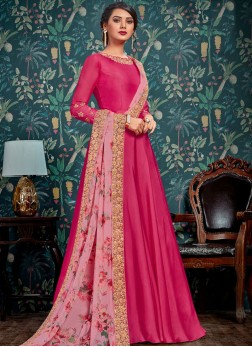 Hypnotic Resham Hot Pink Satin Floor Length Anarkali Suit