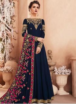 Hypnotizing Georgette Embroidered Navy Blue Anarkali Suit