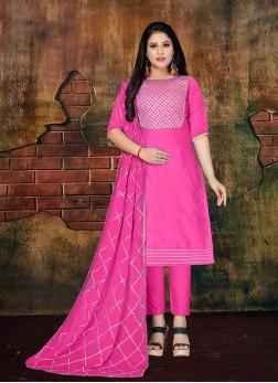 Hypnotizing Lace Faux Chiffon Magenta Designer Salwar Kameez