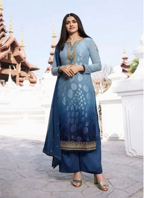 Illustrious Brasso Shaded Designer Embroidery On Salwar Suit In Sky Blue - Navy Blue