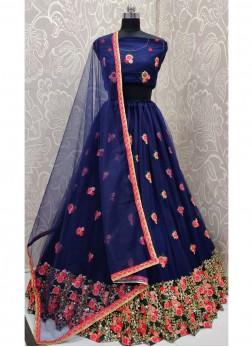 Illustrious Embroidered Bridal Wear On Lehenga Choli In Navy Blue