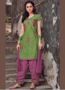 Immaculate Green Cotton Salwar Kameez