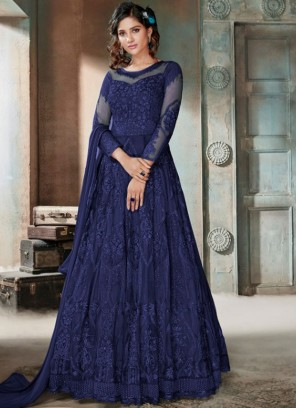 Impeccable Blue Mehndi Anarkali Salwar Suit