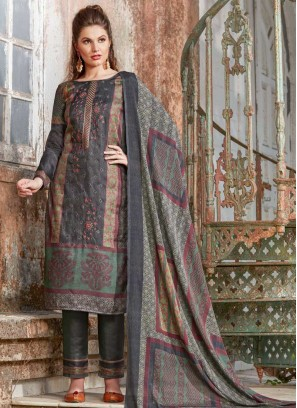 Impeccable Embroidered Tussar Silk Pant Style Suit