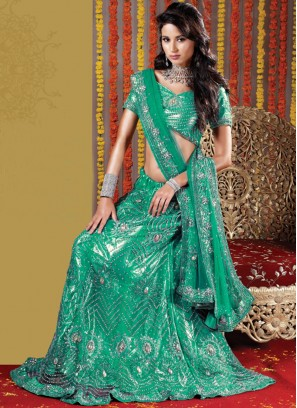 Impeccable Sea Green Wedding Handwork Lehenga Choli