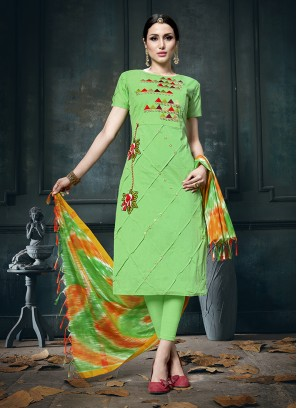 Imposing Embroidered Green Cotton Designer Straight Suit