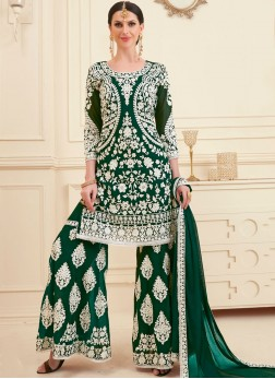 Imposing Green Faux Georgette Designer Pakistani Suit