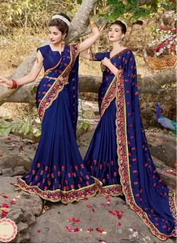 Imposing Satin Blue Saree
