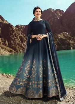 Impressive Lace Blue Prachi Desai Floor Length Anarkali Suit