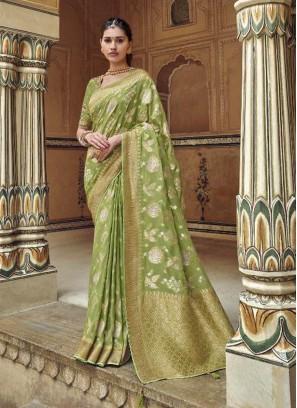 Impressive Olive Green Designer Pure Dola Silk Saree