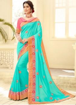 Impressive Satin Silk Sea Green Embroidered Traditional Designer Saree