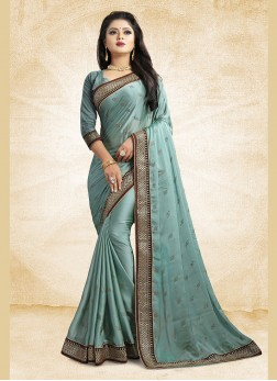 Incredible Georgette Satin Patch Border Blue Trendy Saree