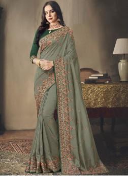 Incredible Green Mehndi Classic Saree