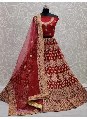 Indian Bridal Embroidery Lehenga Choli In Maroon