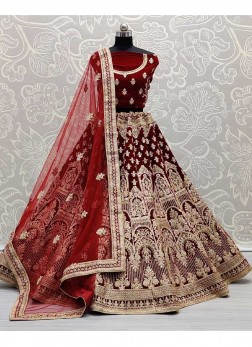 Indian Bridal Velvet Embroidery Work Lehenga Choli In Maroon