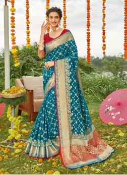 Indian Classi Gold Print Silk Saree In Teal