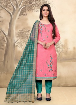 Indian Festival Pant Style Salwar Kameez In Pink