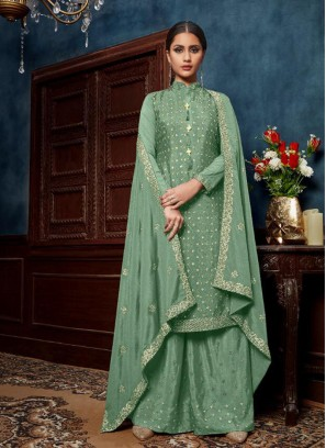 Indian Festival Sequnces Work Salwar Suit With Palazzo In