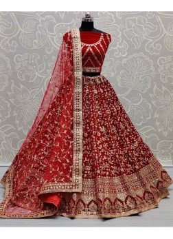 Indian Style Bridal Wear Embroidery Work Lehenga Choli In Red