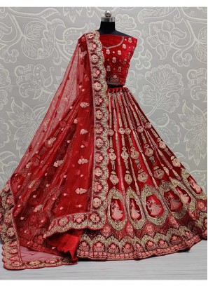 Indian Traditional Bridal Embroidery Work Lehenga Choli In Red