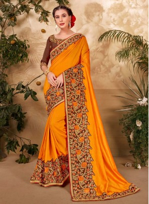 Indian Traditional Embroidery Work Saree In Yellow