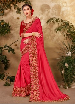 Indian Trendy Look Cut Peaich Embroidery Work Saree In Pink