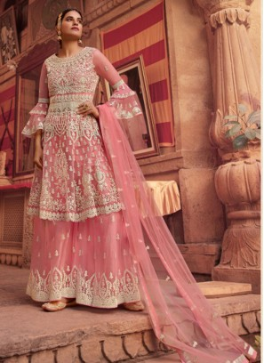 Indian Wedding Embroidery Anarkali Suit With Palazzo In Pink