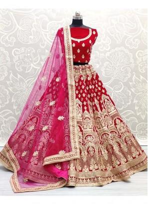 Indian Wedding Gold Zari Embroidery Work Lehenga Choli In Magenta