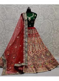 Indian Wedding Panetar Bridal Lehengacholi In Red - Green