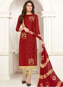 Innovative Cotton Embroidered Churidar Salwar Suit