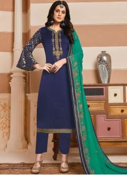 Innovative Handwork Georgette Satin Designer Salwar Kameez
