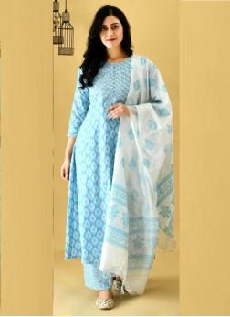 Interest Anarkali Style Salwar Suit Cotton In Sky Blue With Dupatta