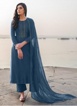 Interesting Embroidery Georgette Pant Style Salwar Suit In Cadet Blue