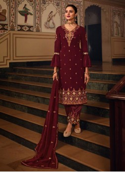 Interesting Thread Work Designer Salwar Suit In Rust