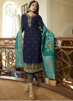 Intricate Georgette Satin Embroidered Pant Style Suit