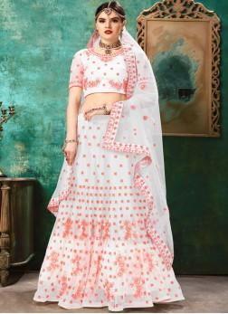 Intricate Net Patch Border Pink and White Lehenga Choli
