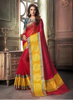Intriguing Cotton Silk Weaving Designer Saree