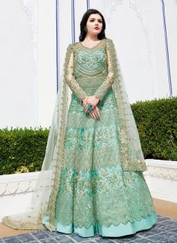 Intrinsic Resham Net Sea Green Floor Length Anarkali Suit