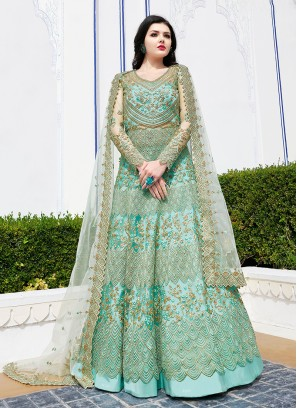 Intrinsic Resham Net Sea Green Floor Length Anarkali Suit