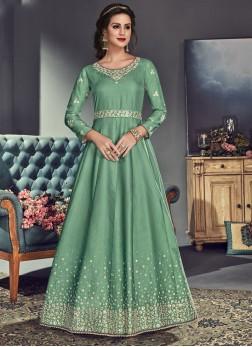 Intrinsic Tussar Silk Sea Green Resham Floor Length Anarkali Suit