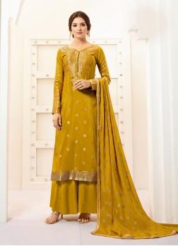 Invigorating Banarasi Silk Mustard Designer Palazzo Suit