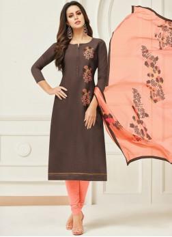 Invigorating Embroidered Brown Chanderi Cotton Salwar Kameez