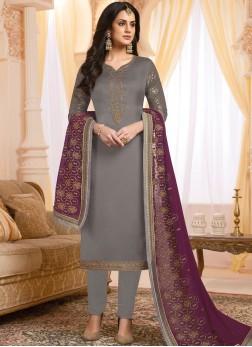 Invigorating Georgette Satin Handwork Grey Designer Salwar Suit