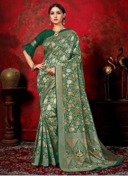 Invigorating Woven Green Banarasi Silk Classic Saree