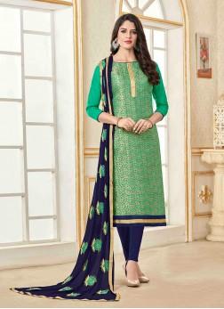 Jacquard Churidar Designer Suit in Green