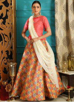 Jacquard Pink Embroidered Lehenga Choli
