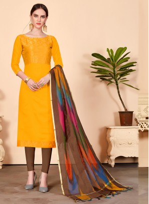 Jacquard Silk Abstract Print Churidar Designer Suit in Mustard
