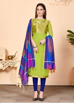 Jacquard Silk Abstract Print Churidar Suit in Green