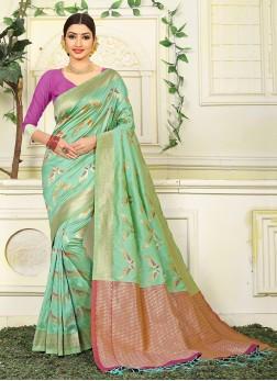 Jacquard Silk Green Weaving Traditional Saree