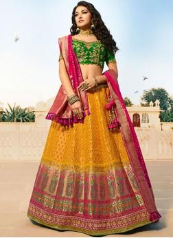 Jacquard Silk Multi Colour Designer Lehenga Choli